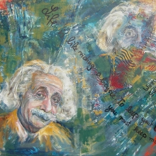 Albert Einstein acryl oil collage 70cm x 1m-web